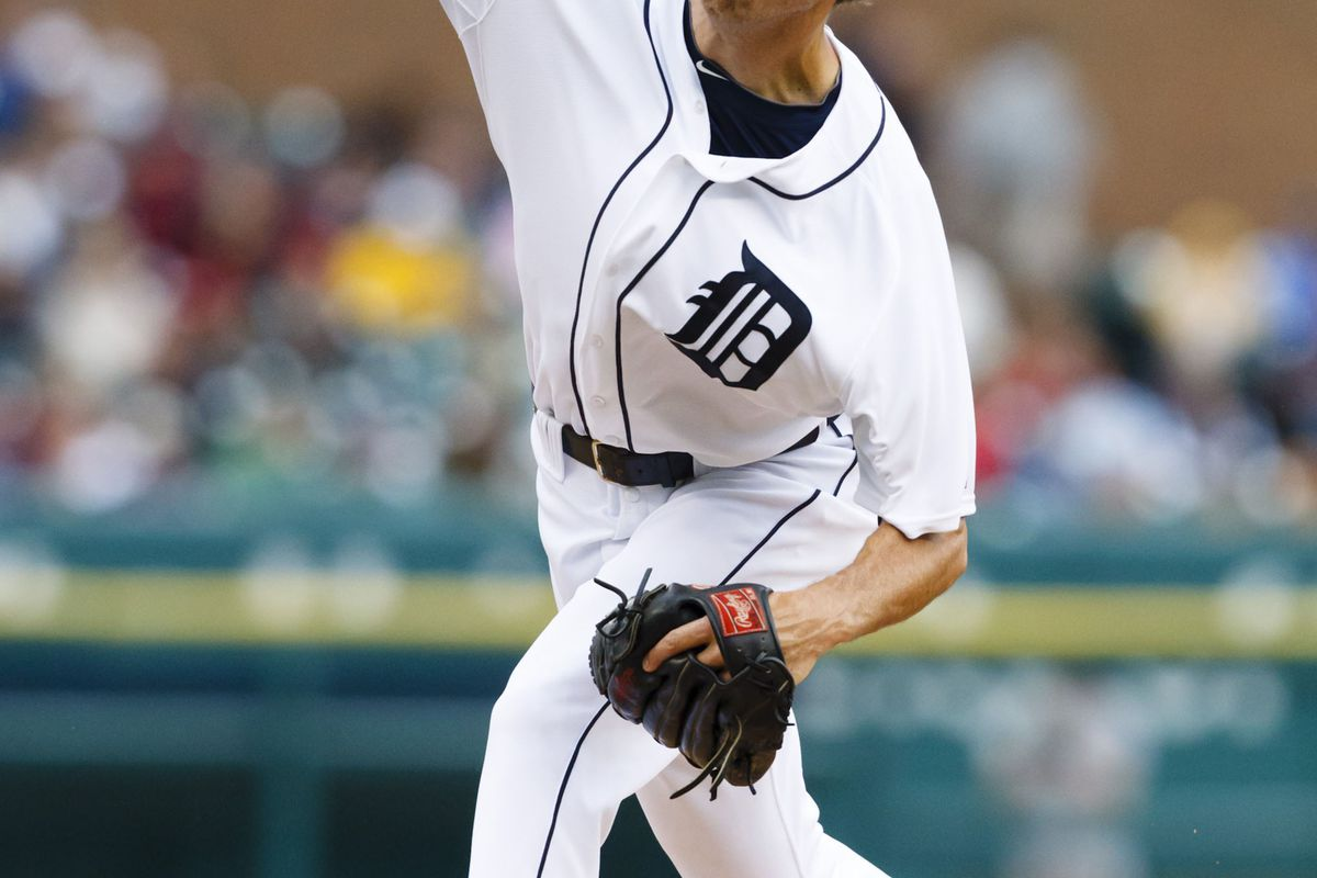 August 9, 2012; Detroit, MI, USA; Detroit Tigers starting pitcher Doug Fister (58) pitches during the first inning against the New York Yankees at Comerica Park.