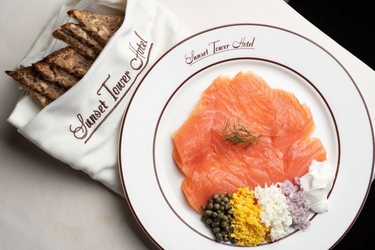Smoked salmon at the Sunset Tower Hotel