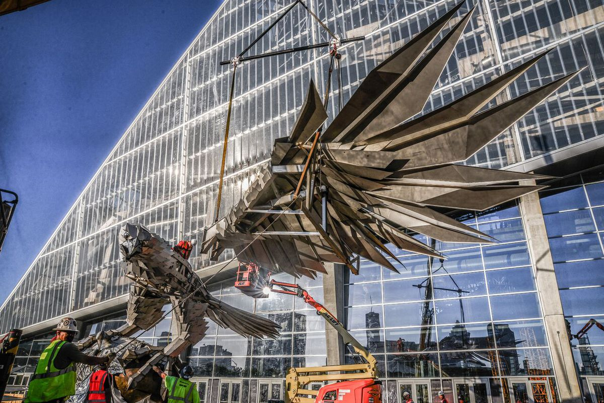 The world's largest freestanding avian sculpture prior to fully hatching.