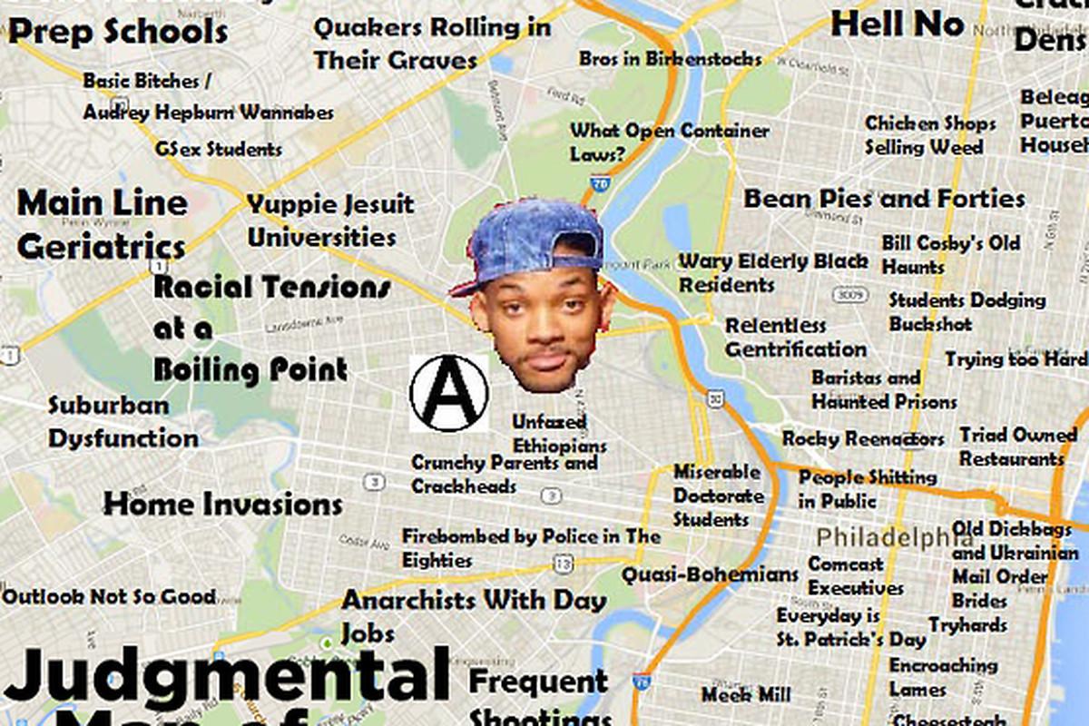 "Crazy Judgmental Map via <a href=""http://judgmentalmaps.com/post/91965518360/philadelphia"">tumblr</a>"