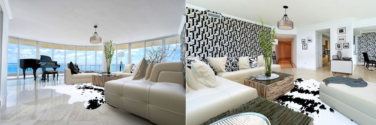Living room of a 25th-floor unit at a South Beach high-rise showing beautiful curved windows with the ocean in the background and neutral tones, with cow rugs