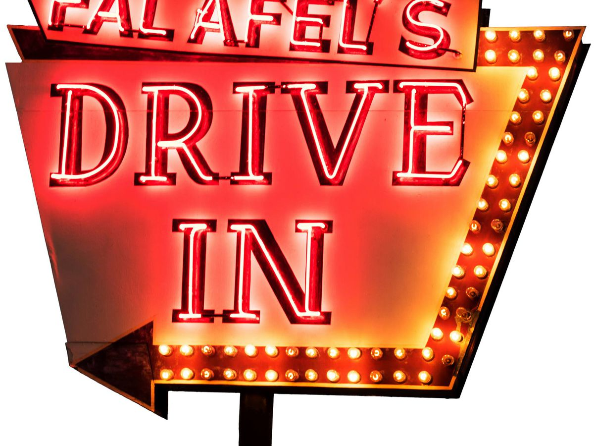Sign at Falafel's Drive In