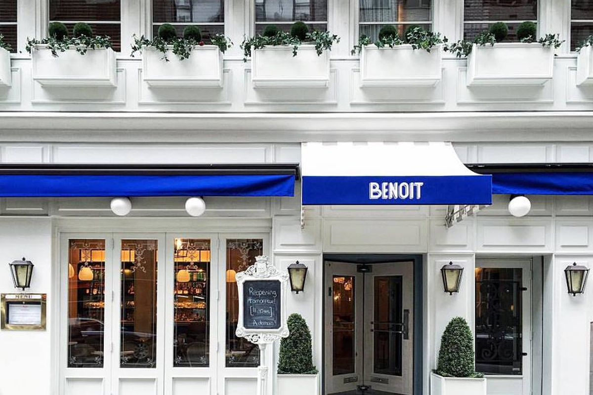 The white and blue entrance to Benoit
