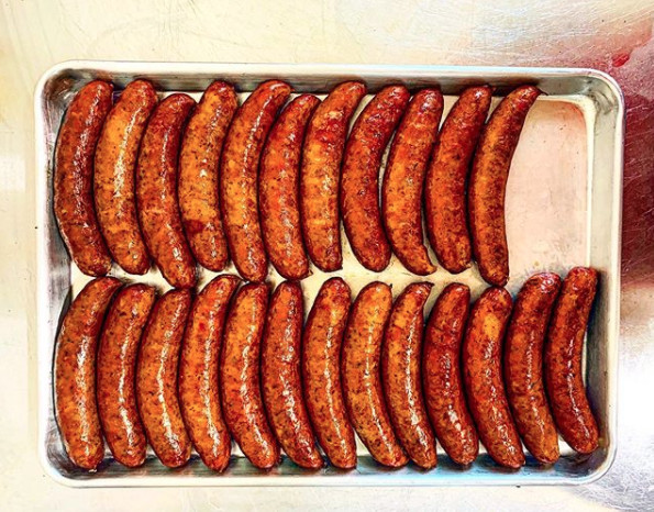 2Fifty has a selection of smoked sausages, including cajun andouille, bratwurst with cheddar, and jalapeño and spices.