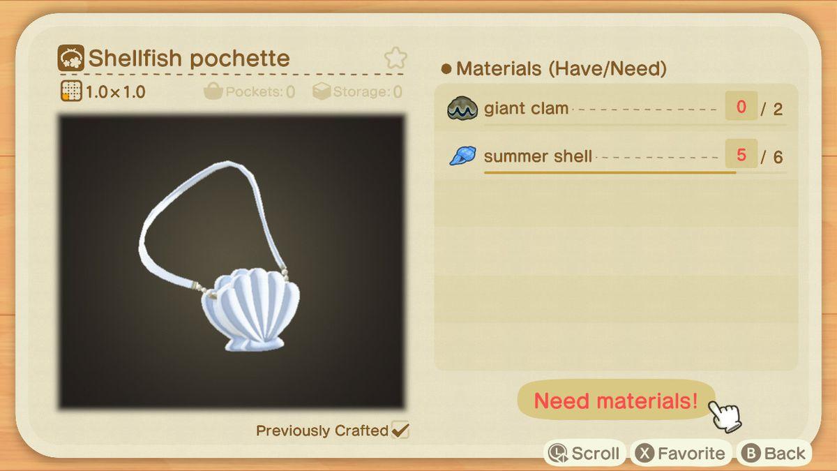 A recipe list for a Shellfish Pochette