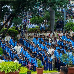 Students attend the 71st Independence Day celebrations at the MIT World Peace University in Pune, Maharashtra, India, on August 15, 2017