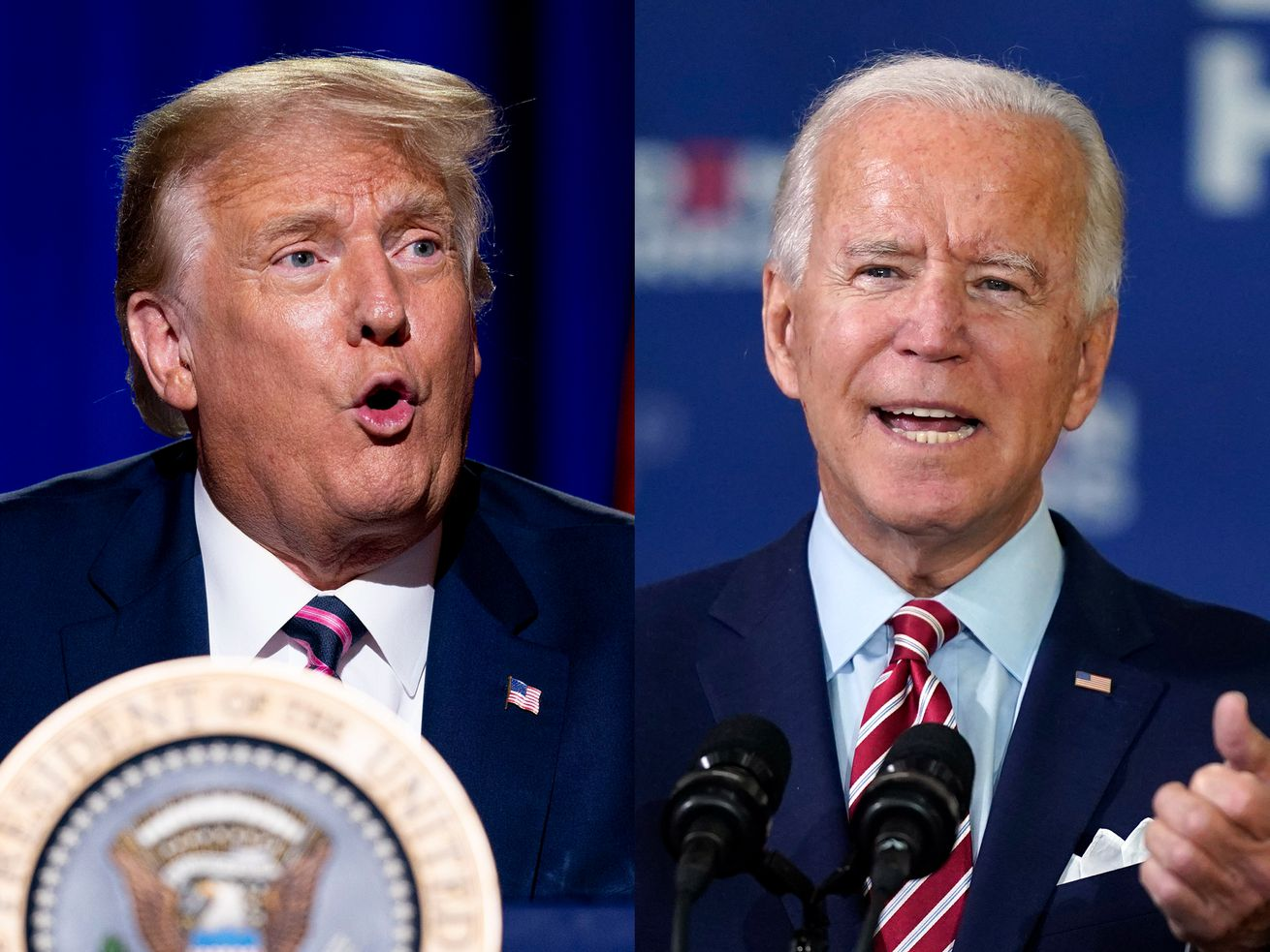President Donald Trump, left, speaks on Monday, Sept. 14, 2020, in Phoenix, Ariz., while Democratic presidential candidate former Vice President Joe Biden speaks on Tuesday, Sept. 15, 2020, in Tampa, Fla., in this composite image.
