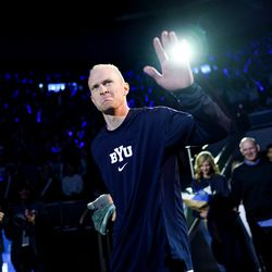 Brigham Young Cougars guard TJ Haws (30) takes to the court on senior night before facing off against the Gonzaga Bulldogs at the Marriott Center in Provo on Saturday, Feb. 22, 2020.