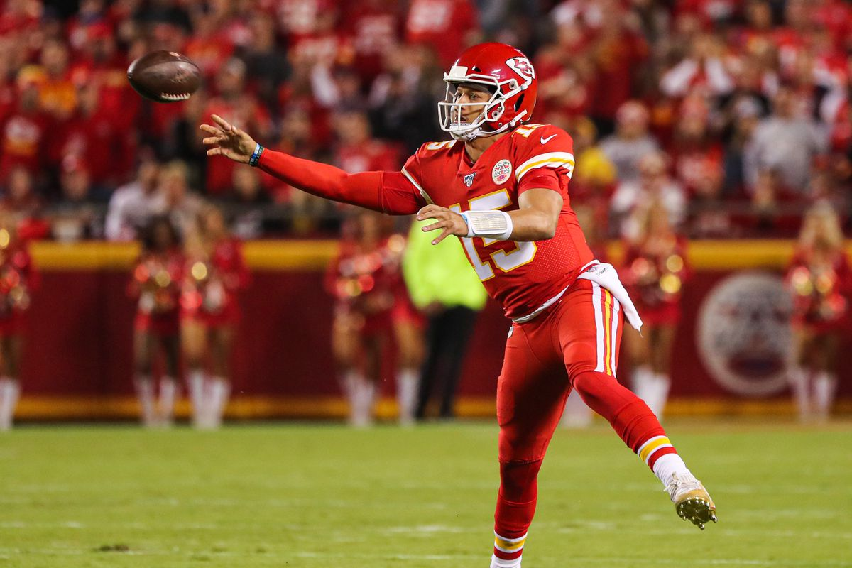 Kansas City Chiefs quarterback Patrick Mahomes throws a pass against the Indianapolis Colts during the first half at Arrowhead Stadium.