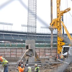 Frame continues being lowered into the hole