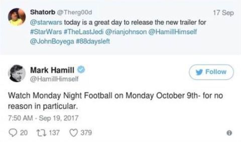 Mark Hamill tweet Star Wars