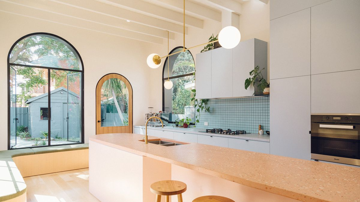 Dining room with pink terrazzo counter