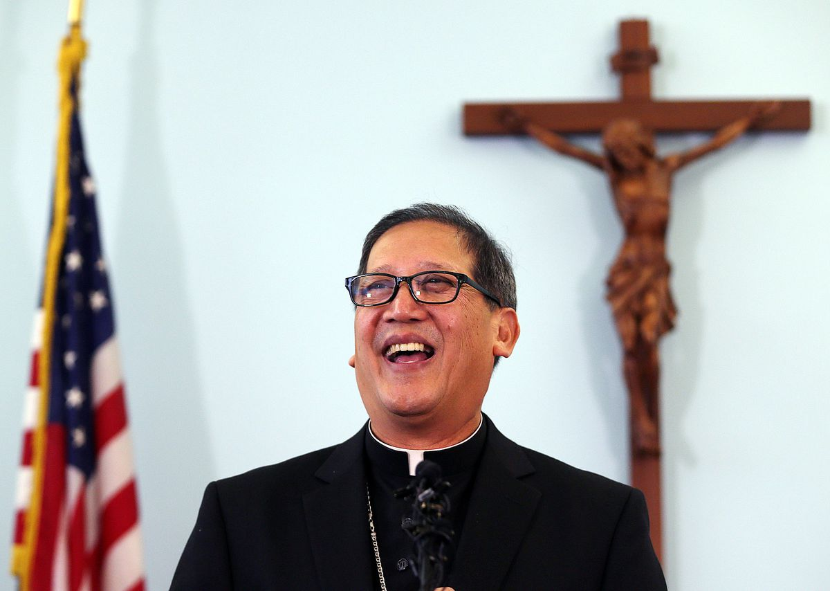 The Most Rev. Oscar Azarcon Solis speaks at a press conference in Salt Lake City on Tuesday, Jan. 10, 2017, after being presented as bishop-elect of the Catholic Diocese of Salt Lake City.