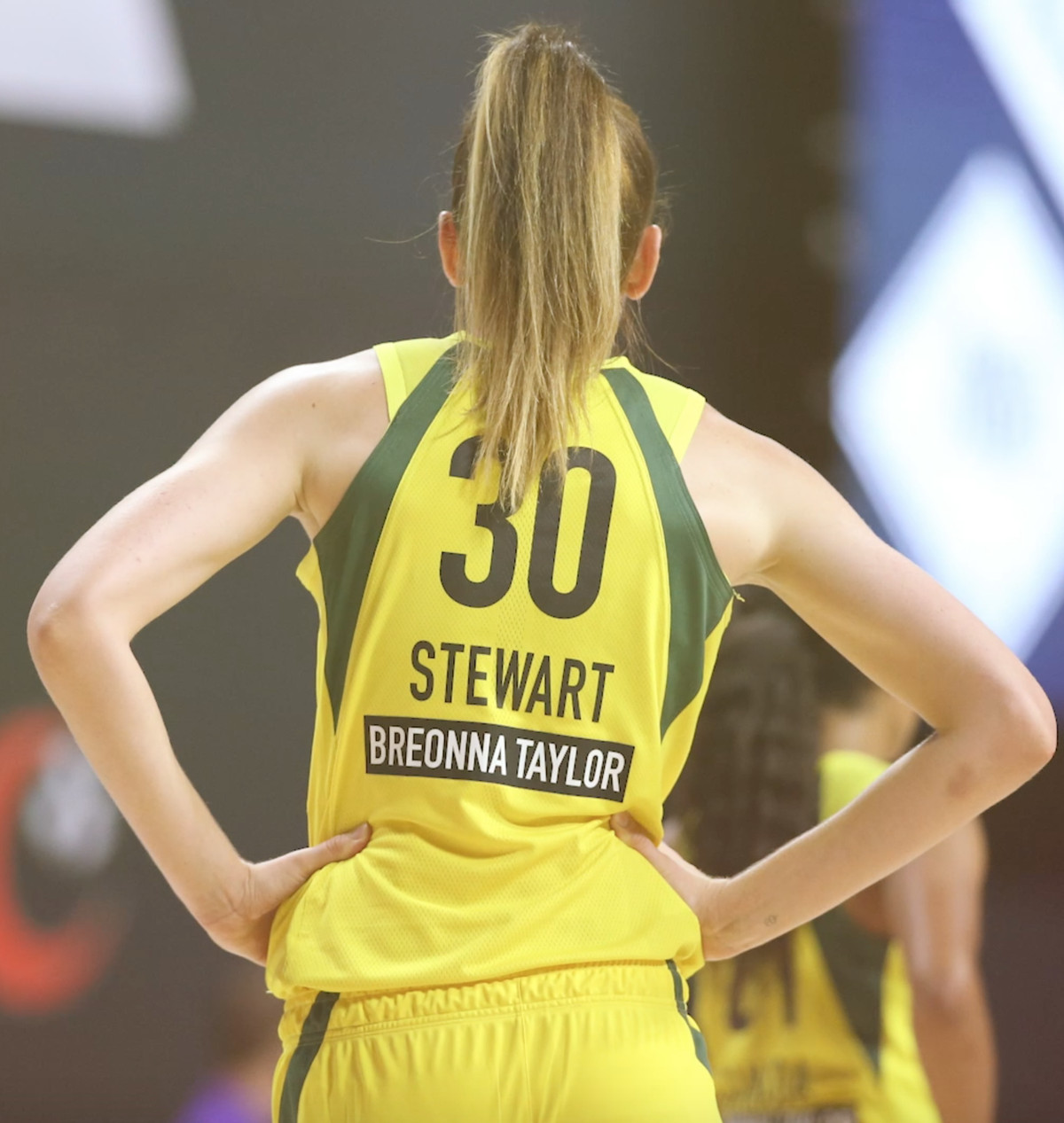 Police shooting victim Breonna Taylor's name appears on the back of Breanna Stewart's WNBA jersey.