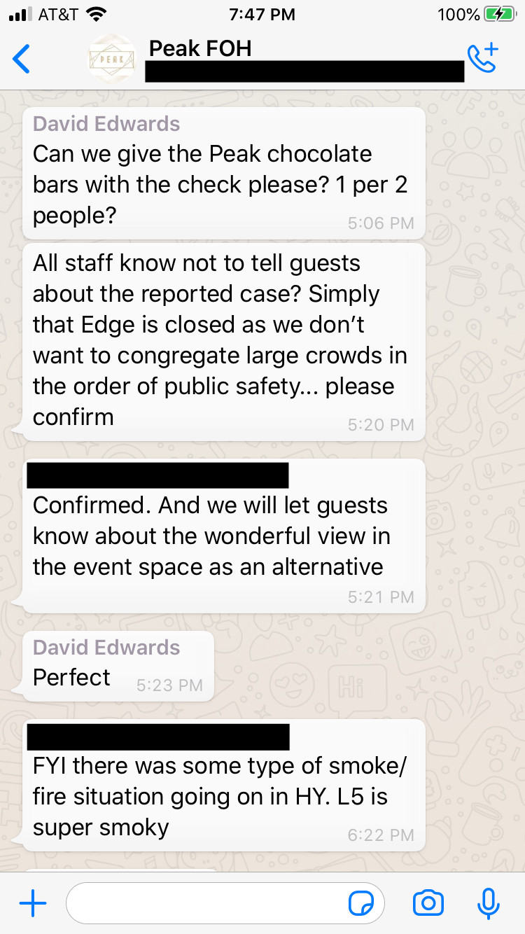 A screenshot of a WhatsApp group chat among Peak restaurant managers