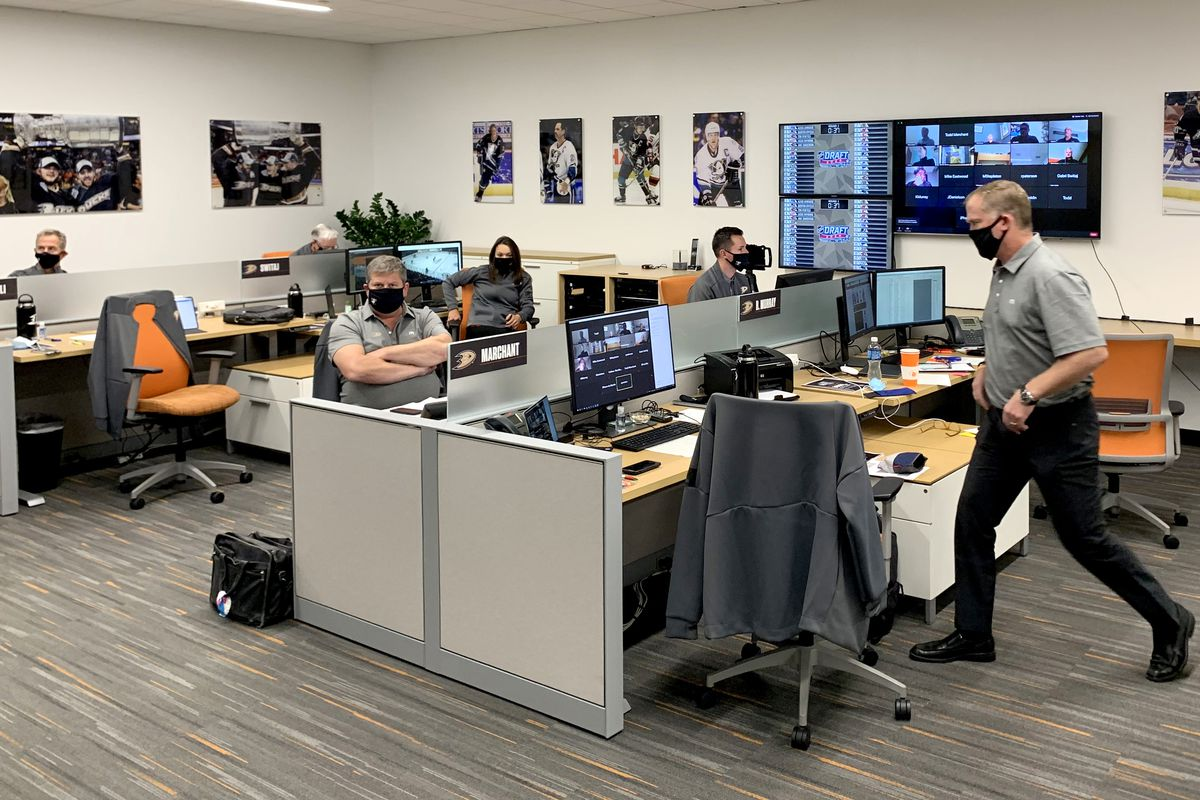 The Anaheim Ducks team personnel works in their draft room during the first round of the 2020 NHL Entry Draft at the Great Park Ice on October 06, 2020 in Irvine, California. The 2020 NHL Draft was held virtually due to the ongoing Coronavirus pandemic.