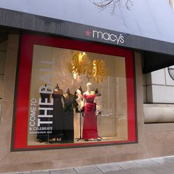 """Fancy frocks in the inaugural ball-themed windows at the Metro Center <a href=""""http://www.macys.com/"""">Macy's</a> on G Street."""