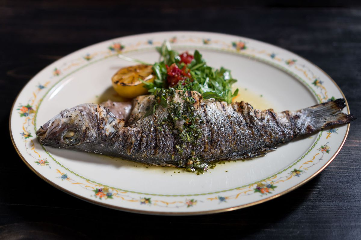 Whole grilled branzino at Old Soul