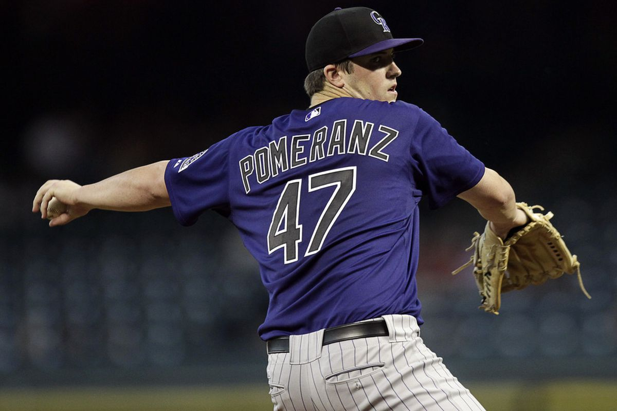 HOUSTON - SEPTEMBER 23:  Pitcher Drew Pomeranz #47 of the Colorado Rockies throws against the Houston Astros at Minute Maid Park on September 23, 2011 in Houston, Texas.  (Photo by Bob Levey/Getty Images)