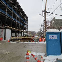 Wed 12/30: looking west down Waveland, excavations related to media building construction -