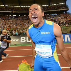 US athlete Aries Merritt reacts after winning the 110 meters hurdles and breaking a new world record at the Diamond League Memorial Van Damme athletics event at Brussels' King Baudouin Stadium, Friday, Sept. 7, 2012.