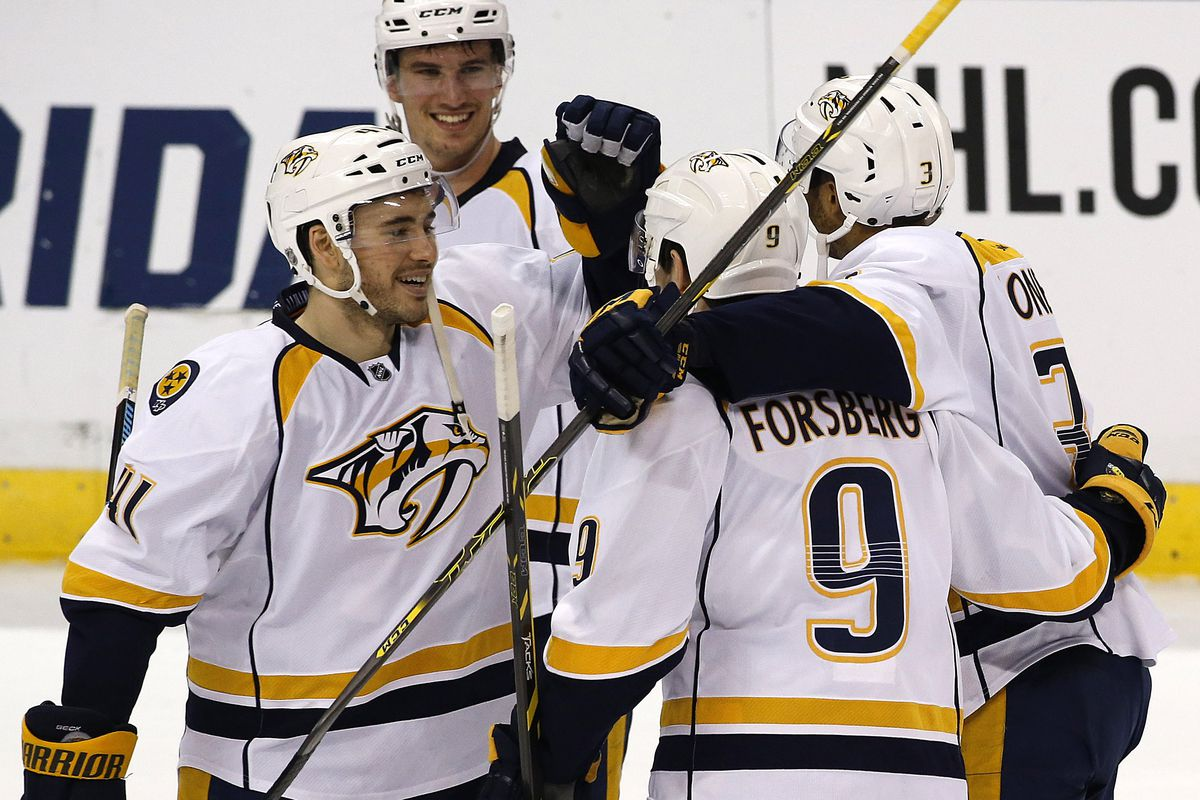 Filip Forsberg tells his teammates about the time he beat Florida in a shootout. Twice.