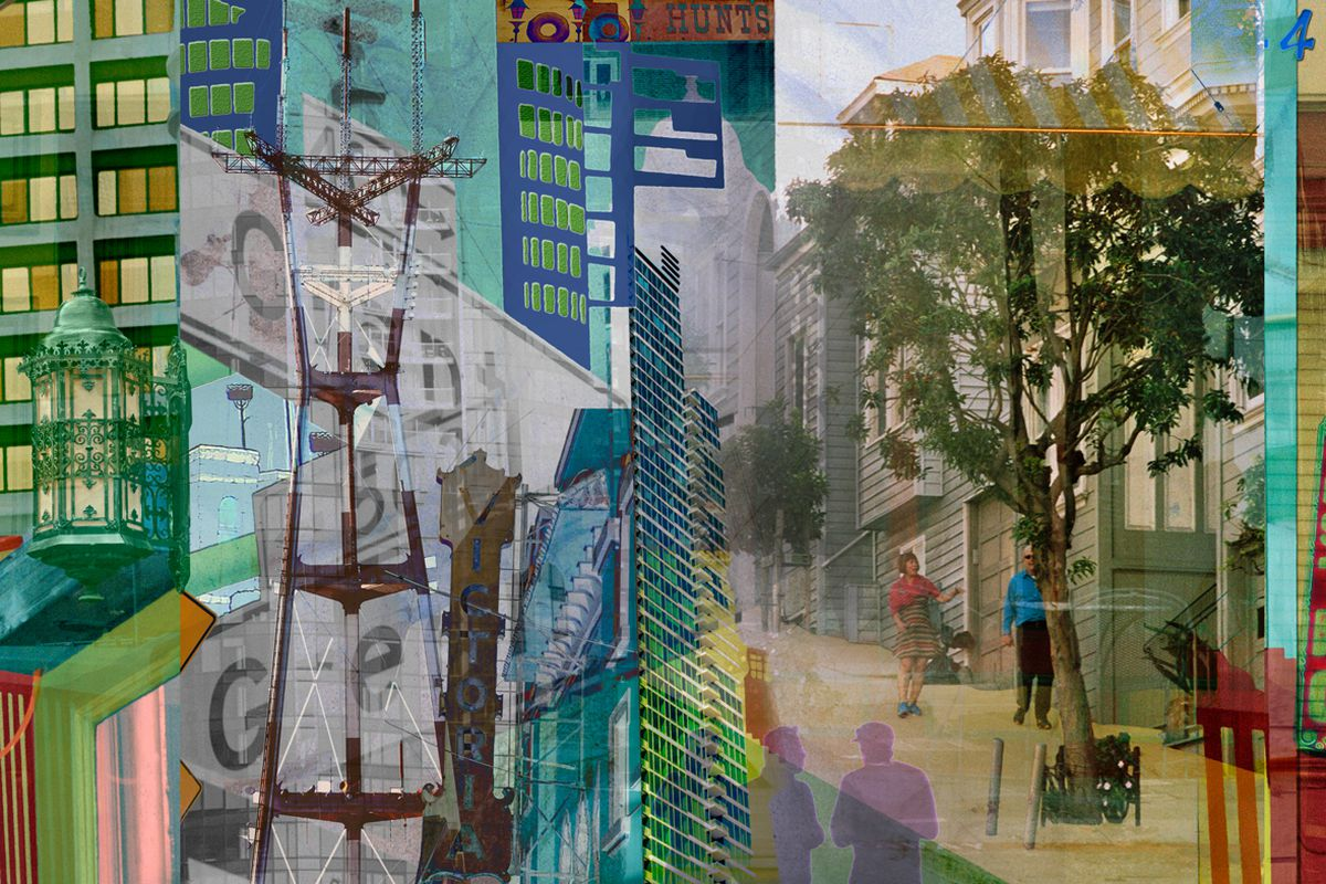An impressionist painting of San Francisco landmarks and streets blurring together.