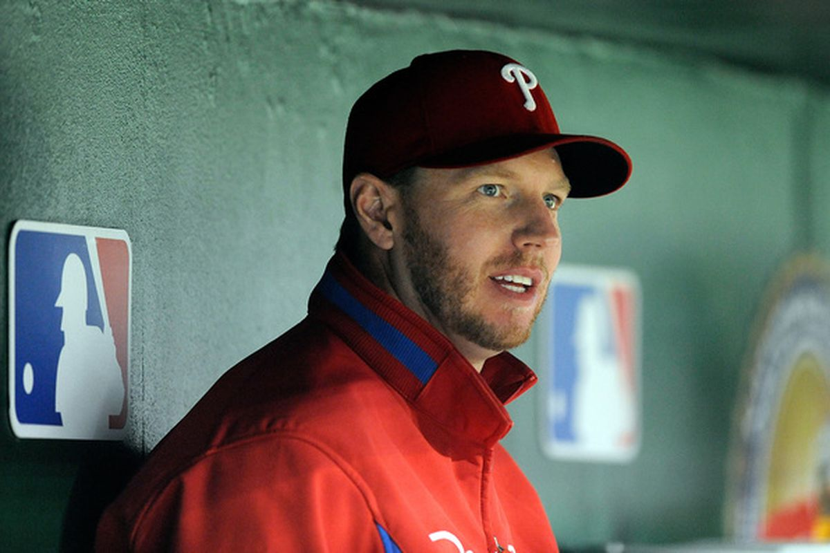 WASHINGTON - SEPTEMBER 29:  Roy Halladay #34 of the Philadelphia Phillies watches the game against the Washington Nationals at Nationals Park on September 29 2010 in Washington DC.  (Photo by Greg Fiume/Getty Images)