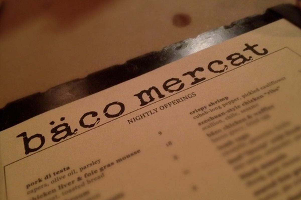 Menu at Bäco Mercat, Downtown.