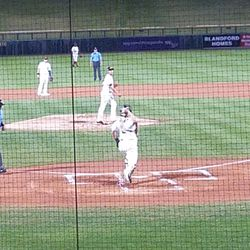 Sean Murphy throws down to second after warm-ups prior to the second inning