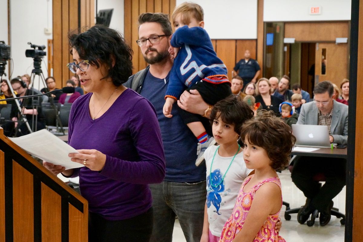 Luba Winship and her family live on the east side in the boundary of School 55. She is concerned that her youngest son may not be able to enroll at School 60.