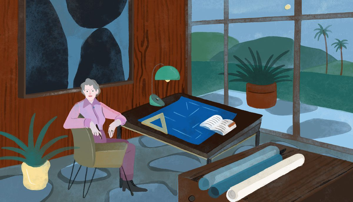 An older, distinguished-looking woman in a fuchsia blouse sits confidently at an architects drafting table. She's surrounded by mid-century modern furniture, abstract art on a wood-paneled wall, and plants. Illustration.