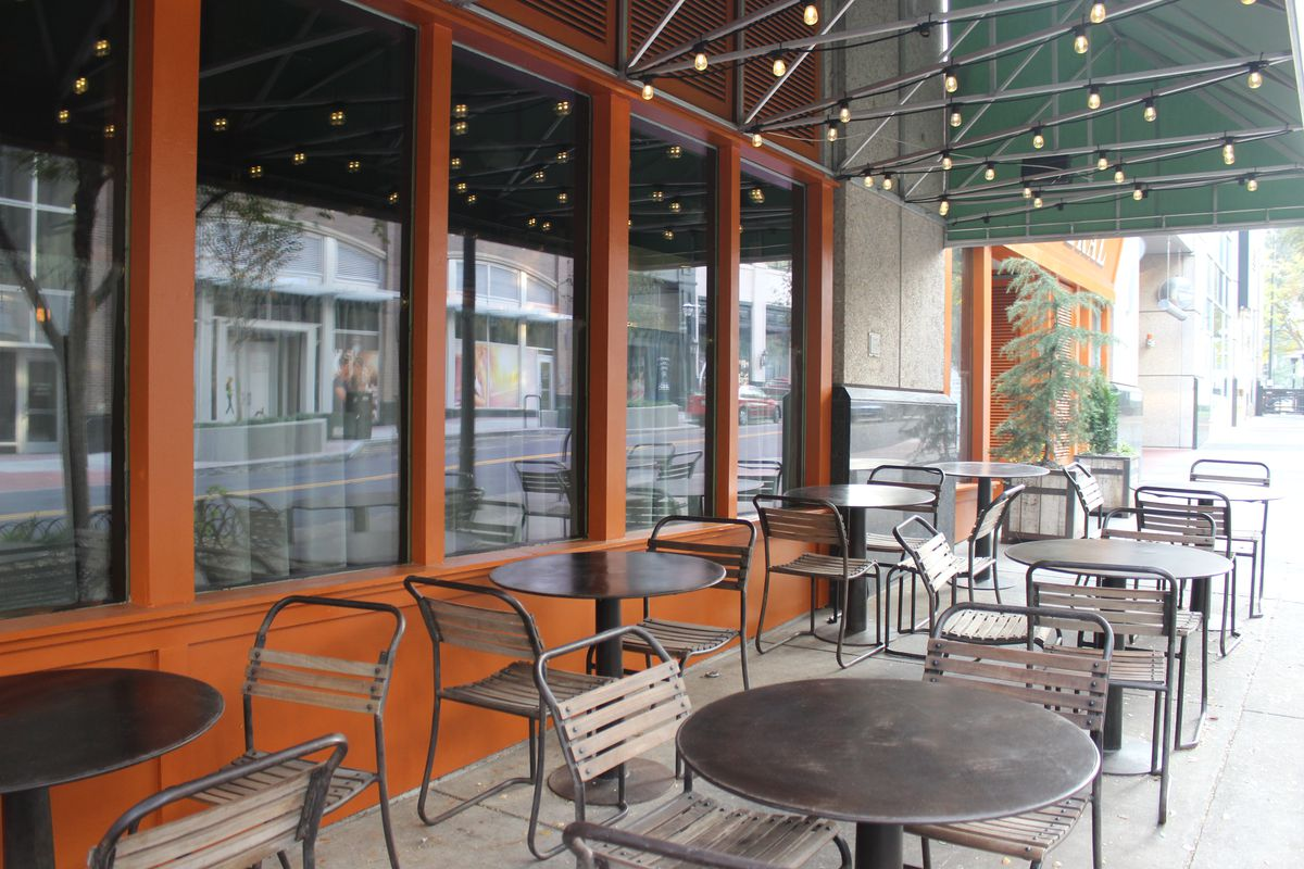 The covered patio outside The Federal.