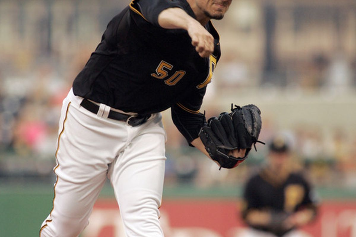 PITTSBURGH, PA - JUNE 10:  Charlie Morton #50 of the Pittsburgh Pirates pitches against the New York Mets during the game on June 10, 2011 at PNC Park in Pittsburgh, Pennsylvania.  (Photo by Justin K. Aller/Getty Images)