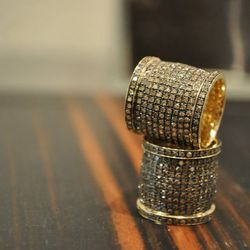 Wide Diamond Barrel Ring, $2,600