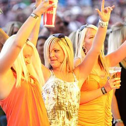 Fans cheer Trace Adkins as he performs in West Valley City Saturday.