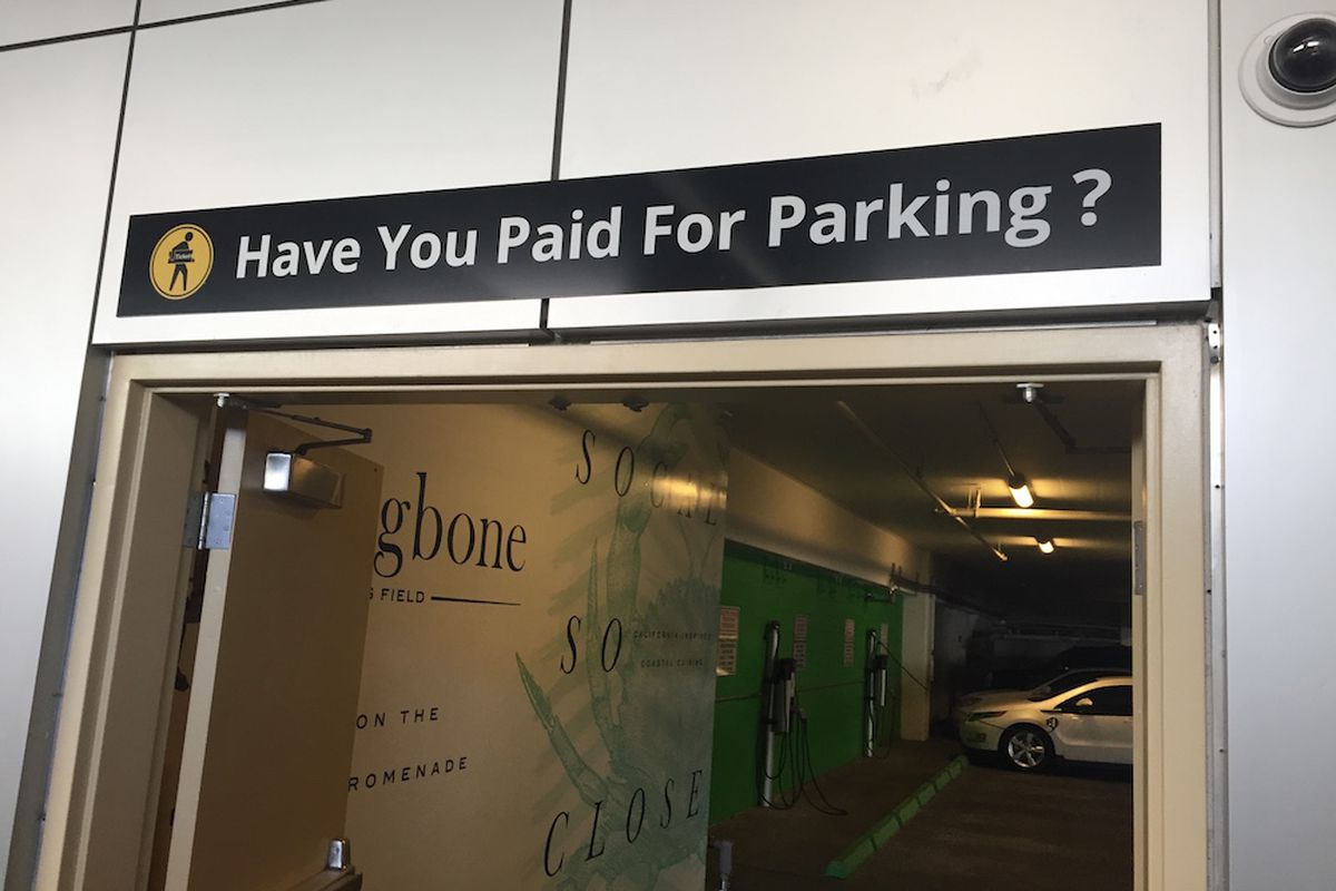 Parking signs at Aria are already up.