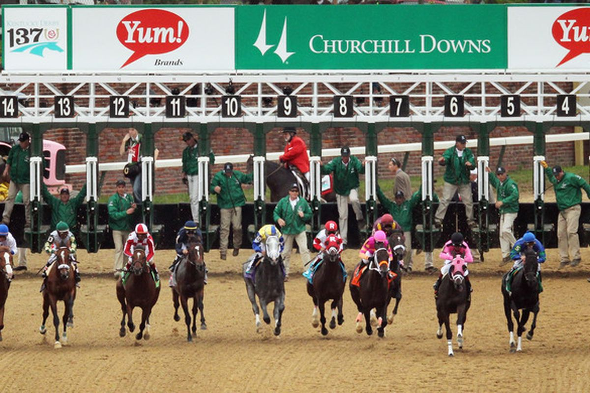 LOUISVILLE, KY - MAY 07:  Horses exit the starting gate during the 137th Kentucky Derby at Churchill Downs on May 7, 2011 in Louisville, Kentucky.  (Photo by Jamie Squire/Getty Images)
