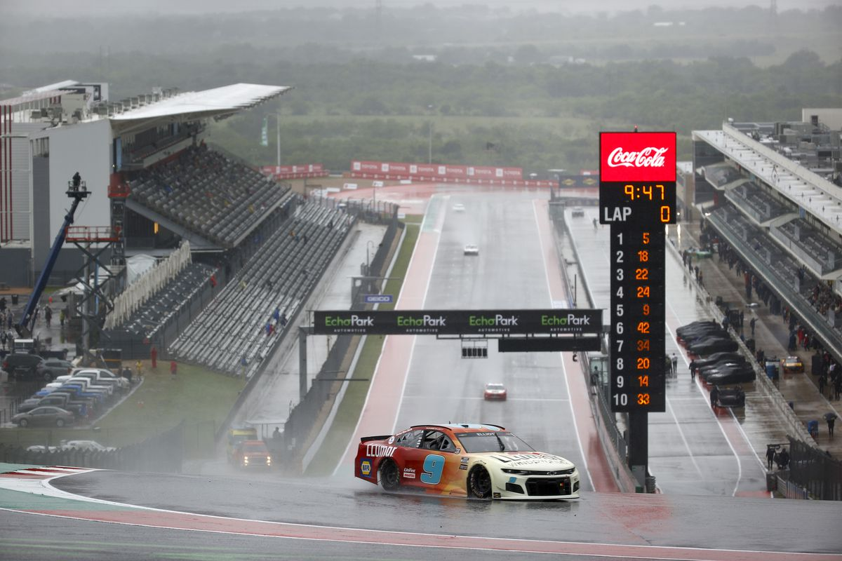 Chase Elliott, driver of the #9 Llumar Chevrolet, drives during practice for the NASCAR Cup Series EchoPark Texas Grand at Circuit of The Americas on May 22, 2021 in Austin, Texas.
