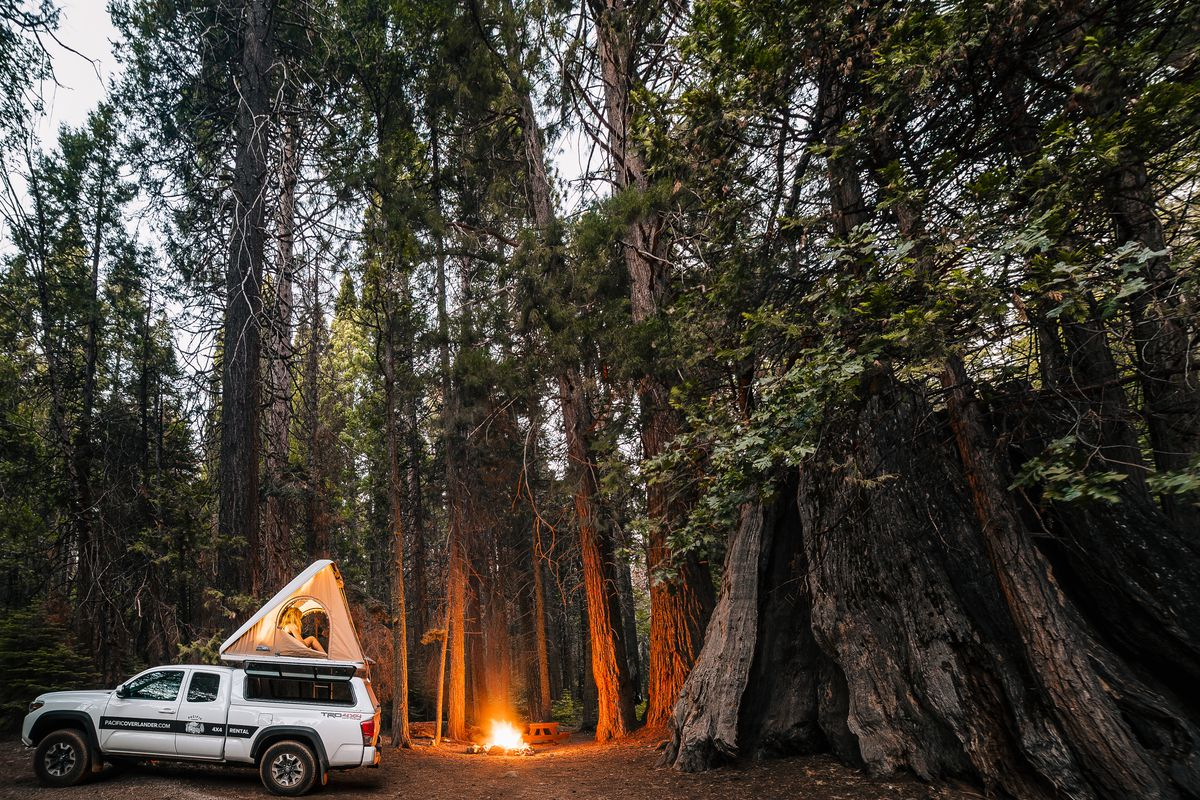 A truck and rooftop tent park next to a fire in the forest