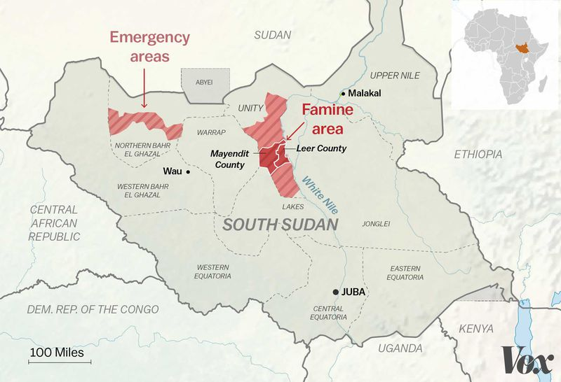Map of South Sudan and its famine and emergency areas
