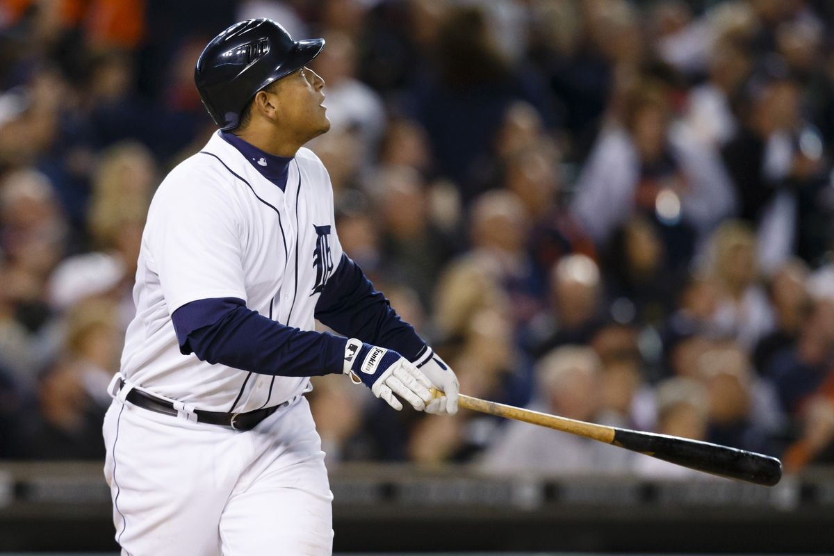 September 19, 2012; Detroit, MI, USA; Detroit Tigers third baseman Miguel Cabrera (24) hits a home run during the seventh inning against the Oakland Athletics at Comerica Park. Mandatory Credit: Rick Osentoski-US PRESSWIRE