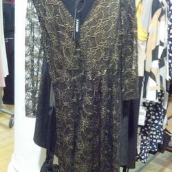 Black and gold lace dress, $85