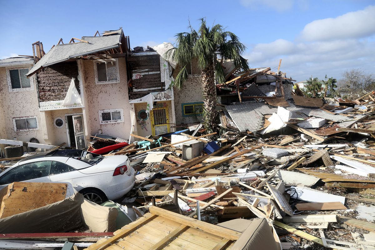 The coastal township of Mexico Beach, Fla., lays devastated on Thursday, Oct. 11, 2018, after Hurricane Michael made landfall on Wednesday in the Florida Panhandle. (Douglas R. Clifford/Tampa Bay Times via AP)