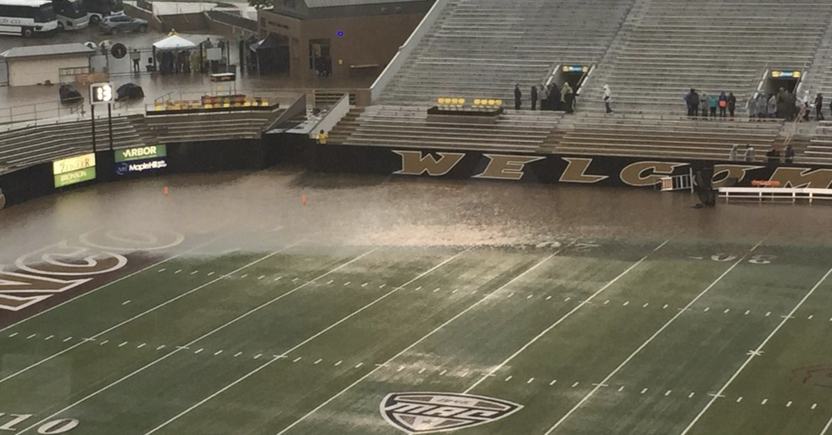 Akron Wmu Delayed To Sunday Due To This Underwater Field
