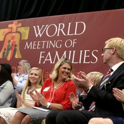 """Two Latter-day Saint families, the Anderson family, right, and the Bostic family were invited by Elder D. Todd Christofferson to speak with him at his presentation entitled """"Techniques for Family Unity from Mormon Homes"""" at the World Meeting of Families in Philadelphia on Thursday, Sept. 24, 2015."""