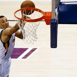 Utah Jazz guard Dante Exum #11 attempts a shot during game four of the Western Conference Semifinal at Vivant Smart Home Arena in Salt Lake City on Monday, May 8, 2017.