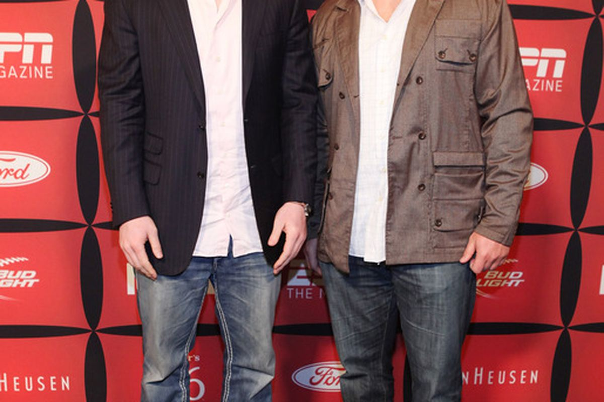 """INDIANAPOLIS, IN - FEBRUARY 03:  Professional football players Kyle Rudolph (L) and Eric Wood attend ESPN The Magazine's """"NEXT"""" Event on February 3, 2012 in Indianapolis, Indiana.  (Photo by Robin Marchant/Getty Images for ESPN)"""