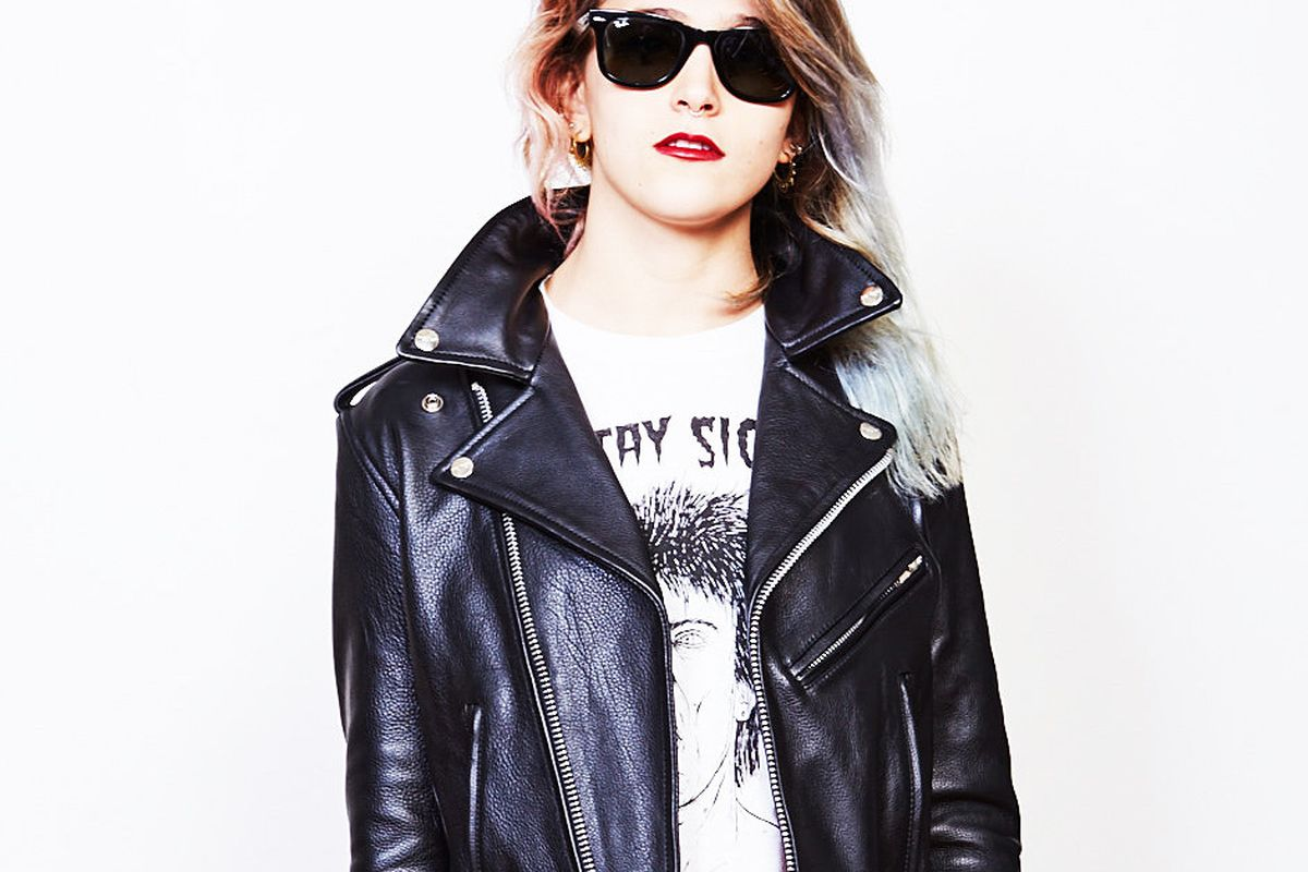 A model wearing The Cast Bowery Motorcycle Jacket in black