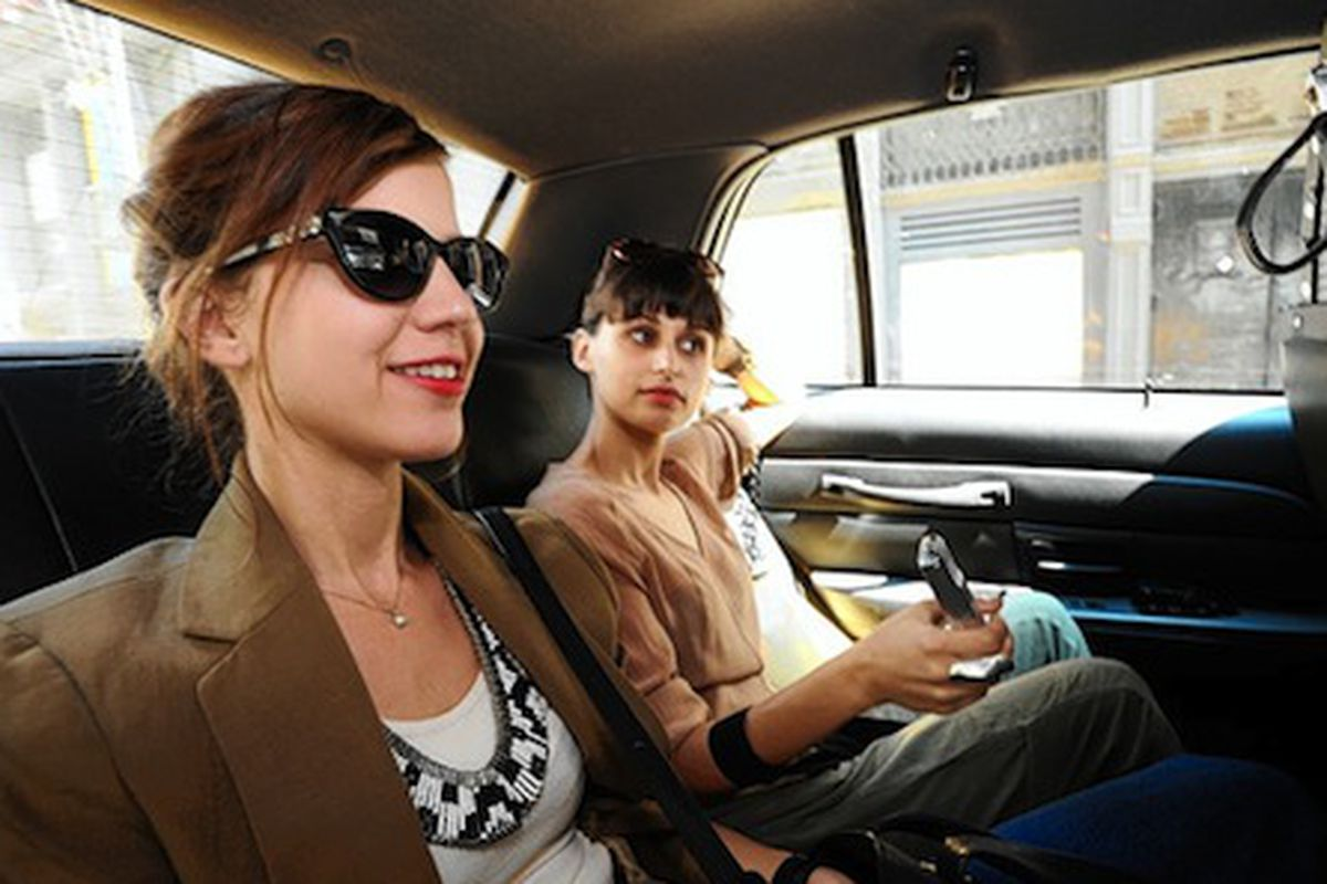 """Vena Cava designers Sophie Buhai and Lisa Mayock are in a cab, stuck in LA gridlock, right now! Ok, maybe not. Image via <a href=""""http://online.wsj.com/article/SB10001424052748703946504575469892001751672.html"""">Wall Street Journal</a>"""